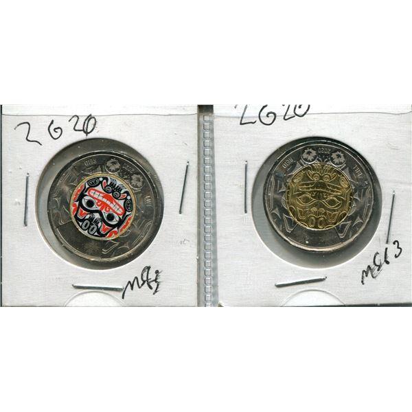 "(2) Canadian Toonies (One Colorized)  ""Bill Reid"""