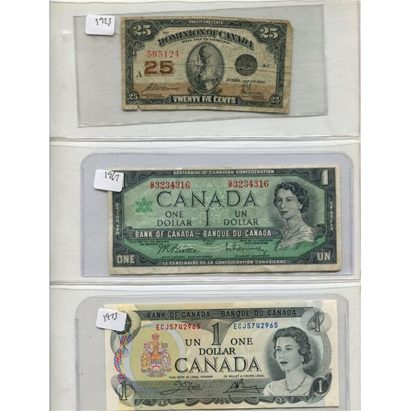 Lot Of (3) Canadian Bills (2) One Dollar + (1) 25 Cents