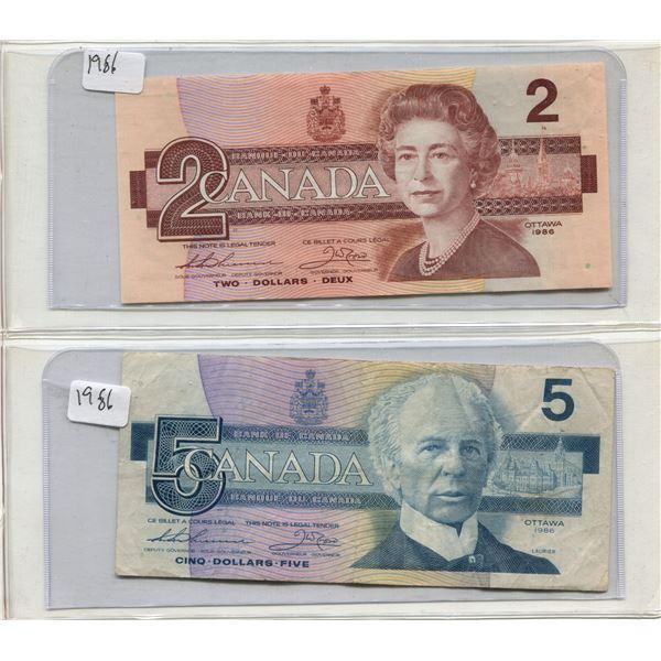 Canadian 2 Dollar Bill + Canadian 5 Dollar Bill