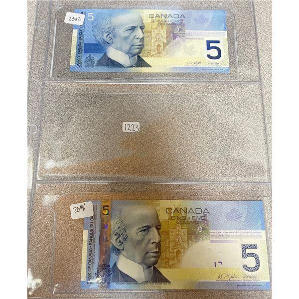 2002 + 2006 Canadian 5 Dollar Bills