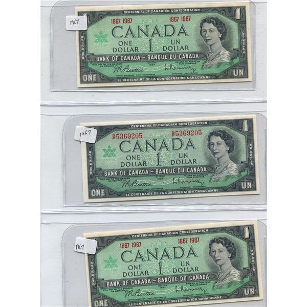 (3) 1967 Canadian One Dollar Bills