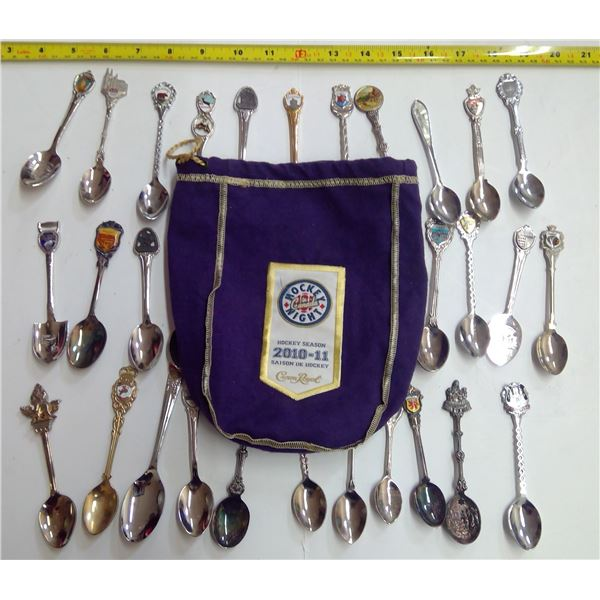 Assorted Decorative Spoons in Crown Royal Bag