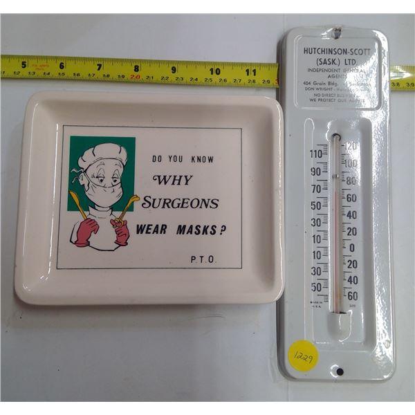 Sask Advertising Thermometer & Ashtray