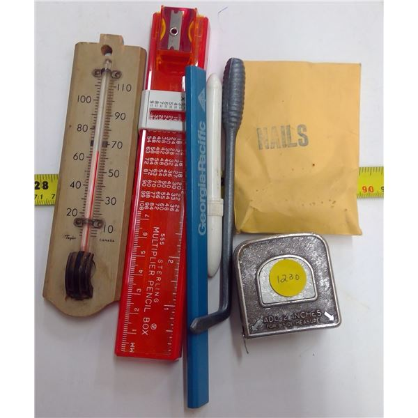 Lot of Thermometers, Tape Measure, Nails, Pencil, Etc.