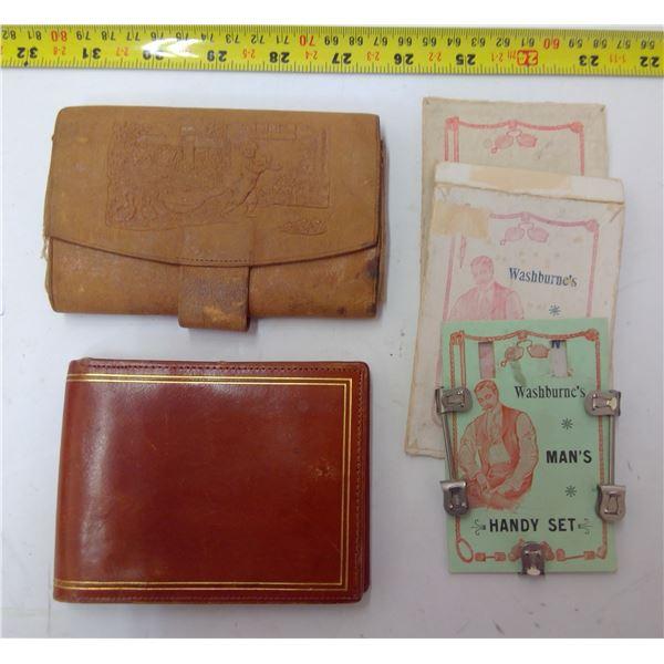 Washburne's Sock Holders & 2 Old Wallets