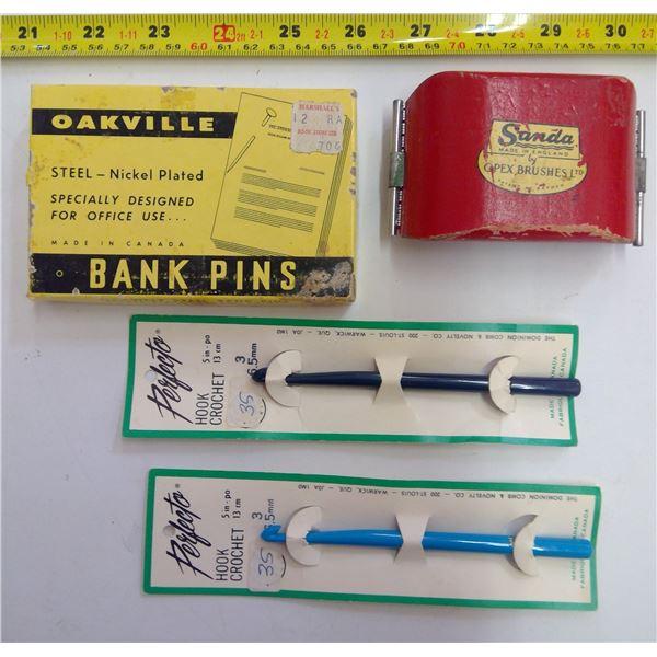 Antique Opex Brush, Crochet Hooks & Bank Pins