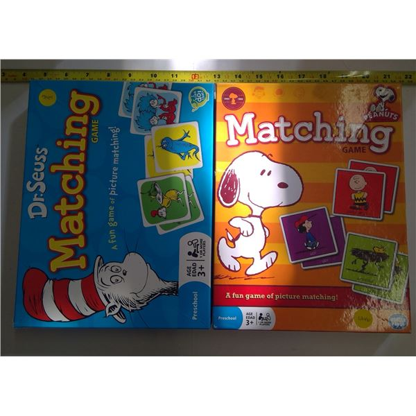 Lot of 2 Collectible Matching Games - Dr. Seuss & Peanuts
