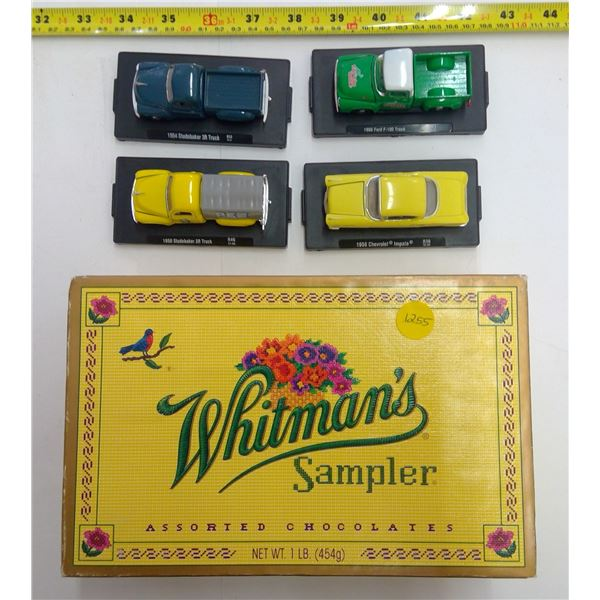 4 - Castline Mounted Mini Cars in Vintage Candy Box
