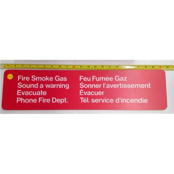 Plastic Sign - Fire Smoke Gas