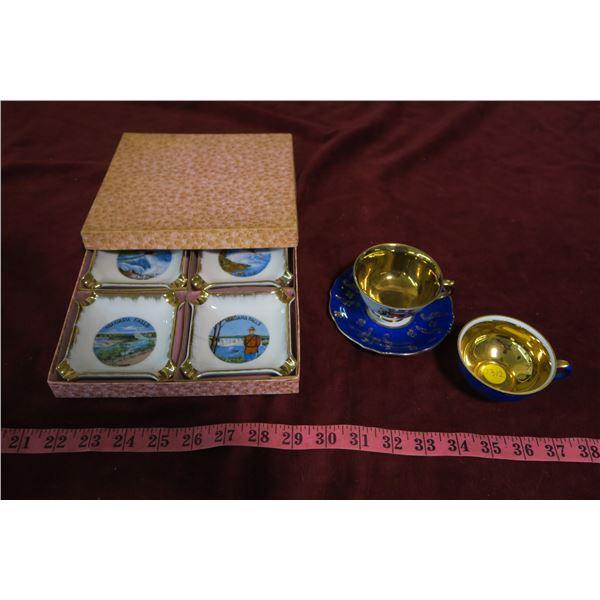 Lot RCMP ashtray set + Bavarian tea set