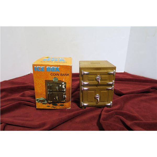 Ice box coin bank w/ original box