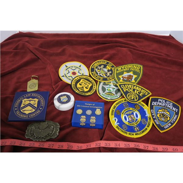 Assorted patches, pins, buckle, misc.