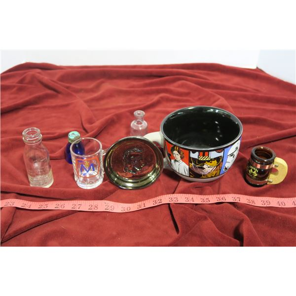 Glass lot: Star Wars cup, ashtrays, misc.