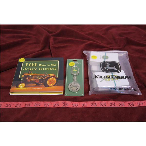 3 John Deer collectible cards, watch fob & book