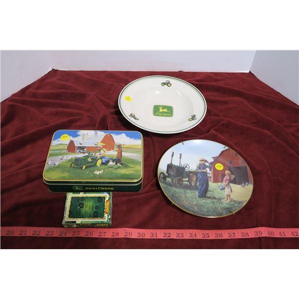 2 John Deer plates, 1 tin w/ playing cards