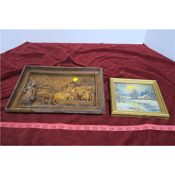 2 pictures, 1 wood carved