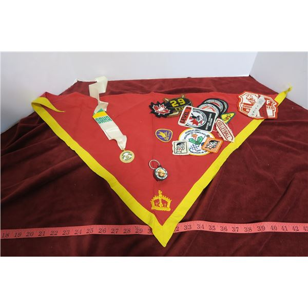 Lot school patches, medal, hanging banner