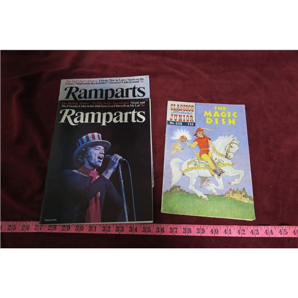 Magic Dish vintage comic book + 2 copies Ramparts magazine