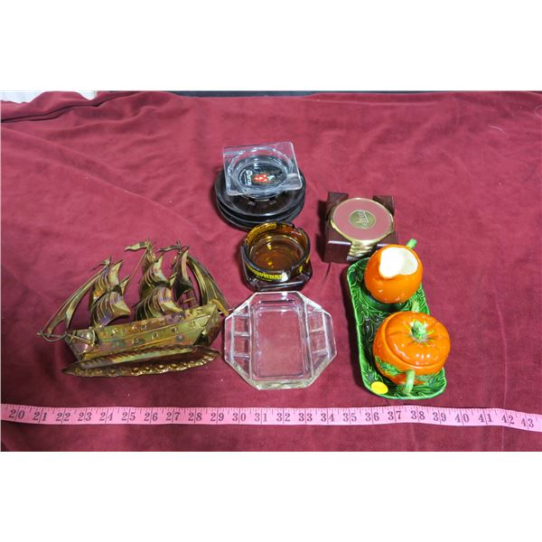 Lot pumpkin cream & sugar dish+ ashtrays & coasters + metal boat