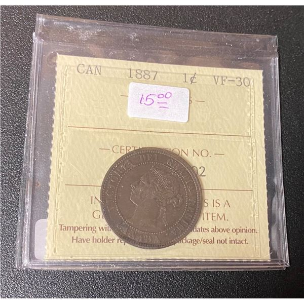 """Canadian 1887 One Cent Coin (VF-30) """"ICCS"""""""