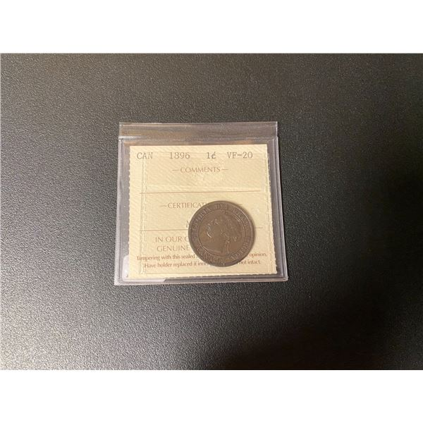 """Canadian 1896 One Cent Coin (VF-30) """"ICCS"""""""
