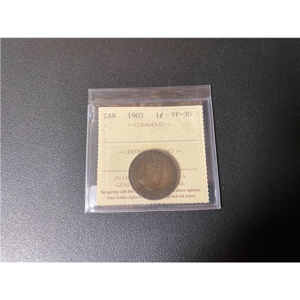 """1905 Canadian One Cent Coin (VF-30) """"ICCS"""""""