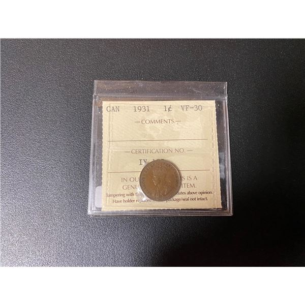 """1931 Canadian One Cent Coin (VF-30) """"ICCS"""""""