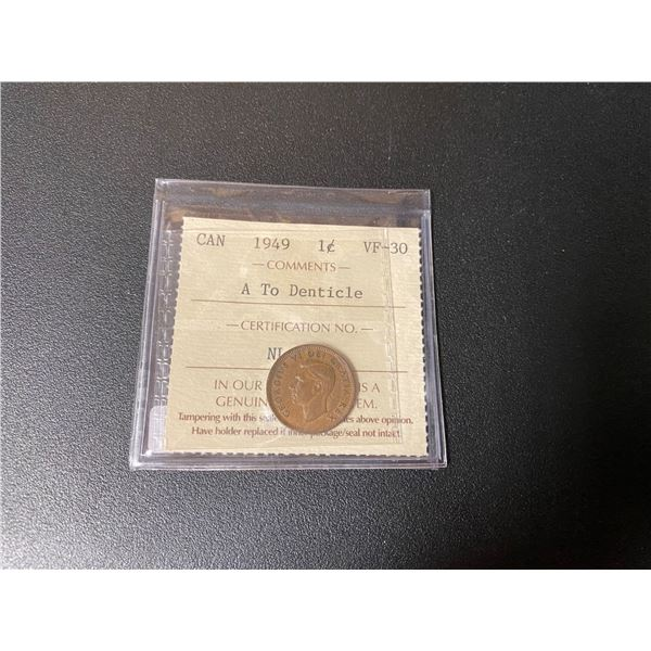 """1949 Canadian One Cent Coin (VF-30) """"ICCS"""""""