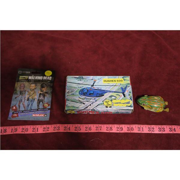 Vintage metal frog toy, Hughes 500 Helicopter 1:85 Model + Walking dead toy