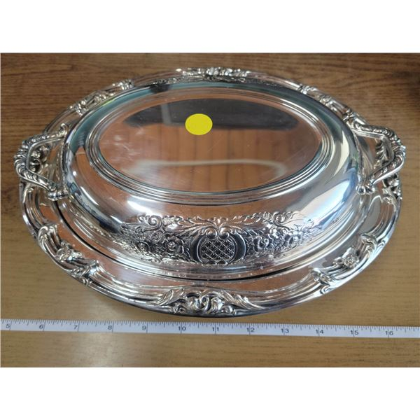 Silverplate trivet & silverplate covered serving dish