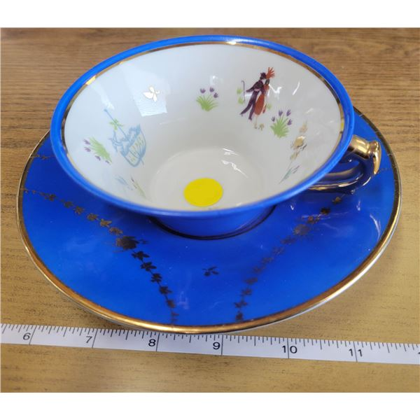 cup & saucer, small chip in bottom of cup, Limoges Couleuvre, France, Edition D'Art, limité
