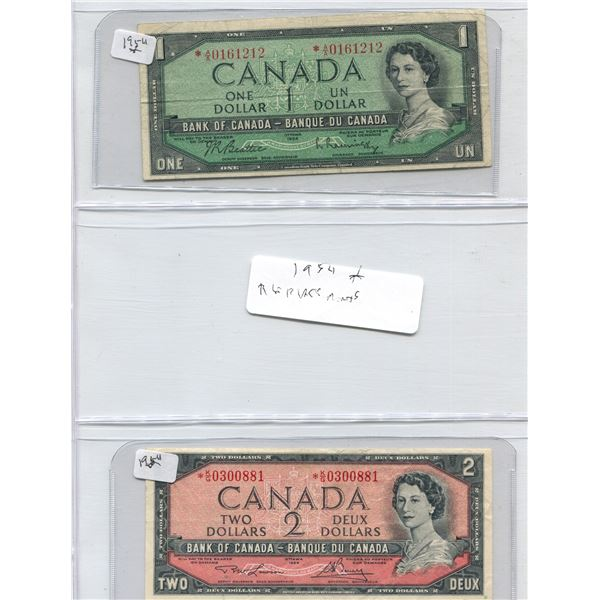 (2) Canadian Bills Two Dollar Bill + One Dollar Bill