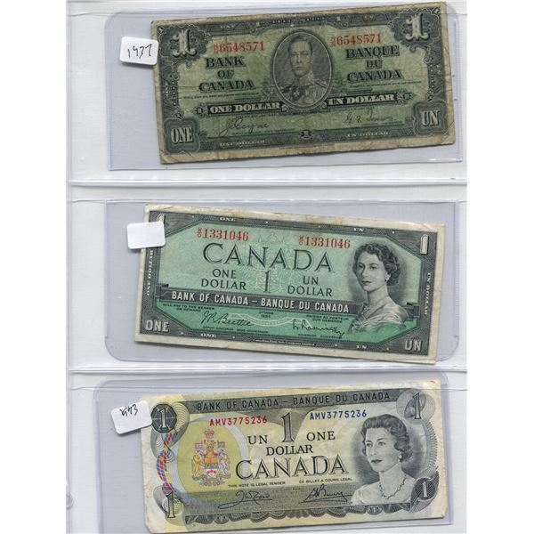 Lot Of 3 Canadian One Dollar Bills 1937 + 1954 + 1973