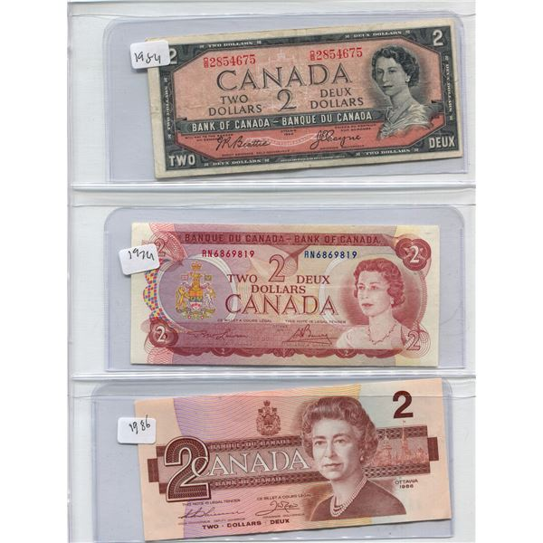 Lot Of 3 Canadian Two Dollar Bills 1954 + 1974 + 1986