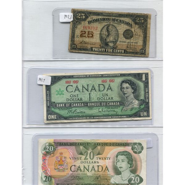 Lot Of 3 Canadian Bills 1923 + 1967 + 1979