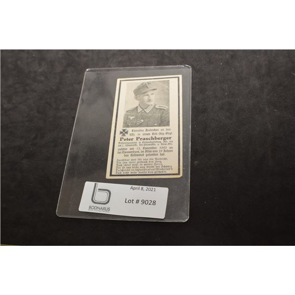 WWII GERMAN SOLDIER DEATH CARD