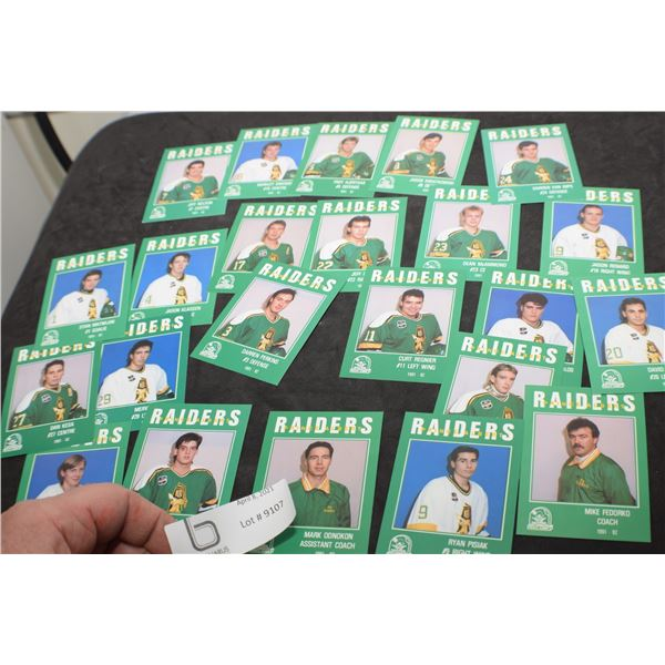 1991 WHL P.A. RAIDERS HOCKEY CARDS
