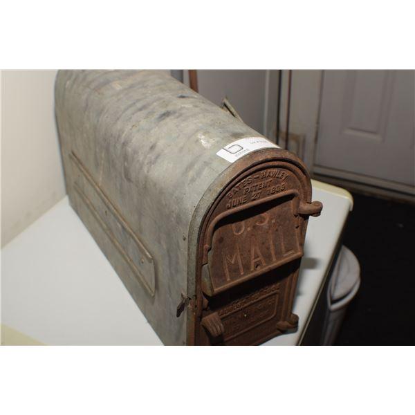 ANTIQUE 1902 LAST PAT. U.S. MAILBOX CAST AND GALVANIZED