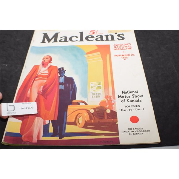 MACLEANS 1938 MAGAZINE - AUTOMOBILE ISSUE
