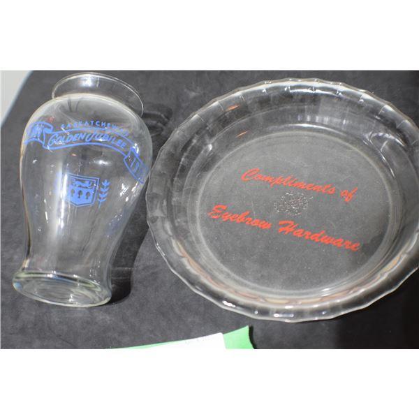 SASKATCHEWAN 1955 JUBILEE VASE / EYEBROW HARDWARE GLASS PLATE