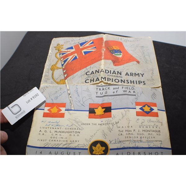 RARE WW11 SIGNED COPY OF CANADA ARMY CHAMPIONSHIP BOOKLET --POOR CONDITION