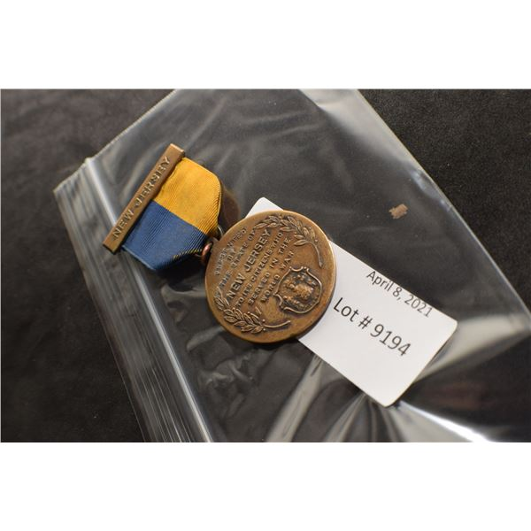 WWI NEW JERSEY MILITARY MEDAL