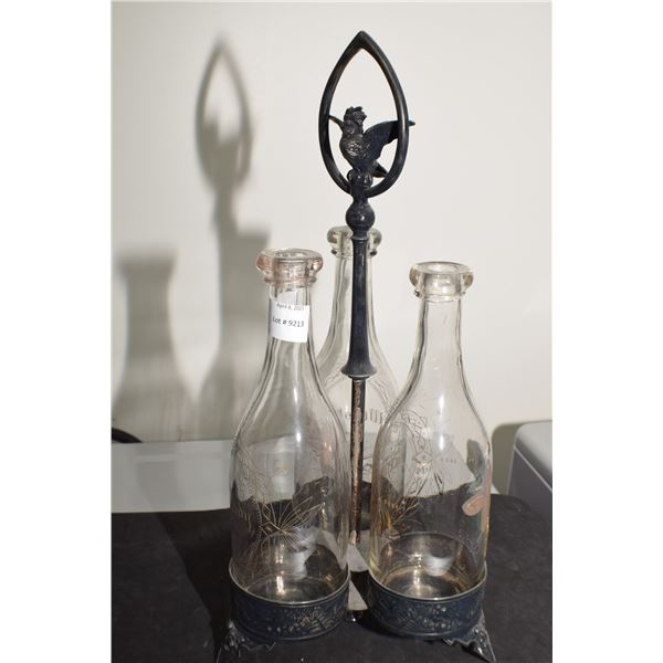 1800S LIQUOR SET , BLOB TOP BOTTLES AND ETCHED GLASS , GERMAN