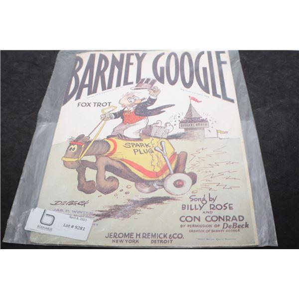 1927 BARNEY GOOGLE MUSIC BOOK