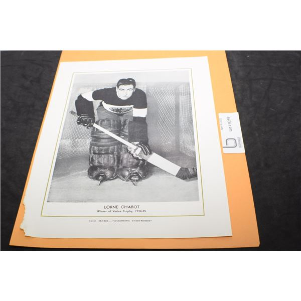 CCM HOCKEY  PICTURE 1934-35 LORNE CHABOT CHICAGO BLACKHAWKS