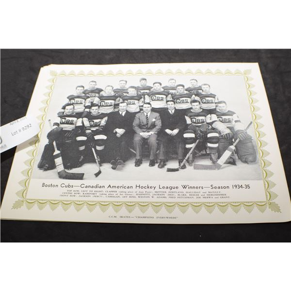 CCM HOCKEY TEAM PICTURE 1934-35 BOSTON CUBS