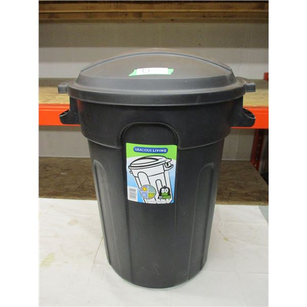 "Plastic Garbage Can and Lid: 27"" High"