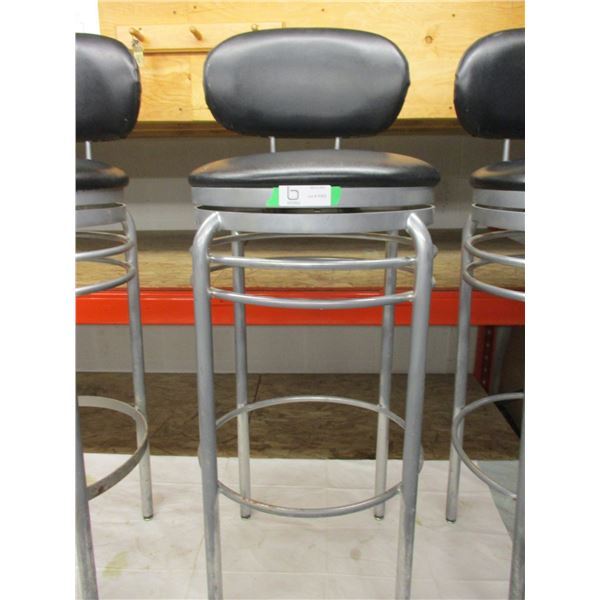 "(3X THE MONEY) Three Swivel Top Metal Bar Stools: 41"" High"