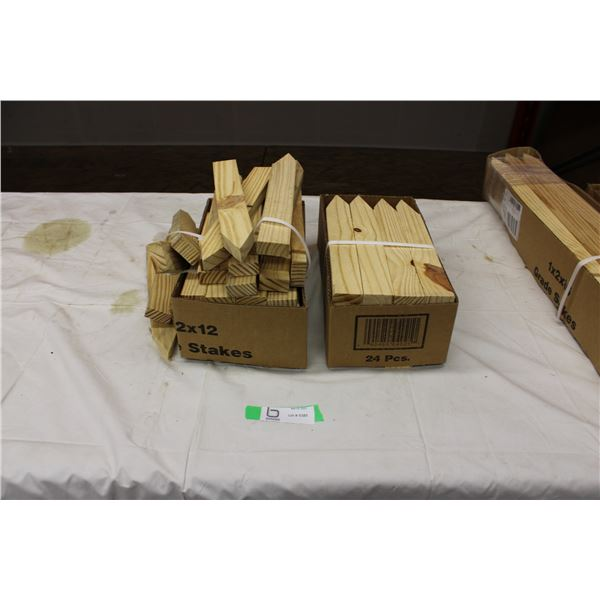 "Two Boxes of 12"" Wooden Stakes"