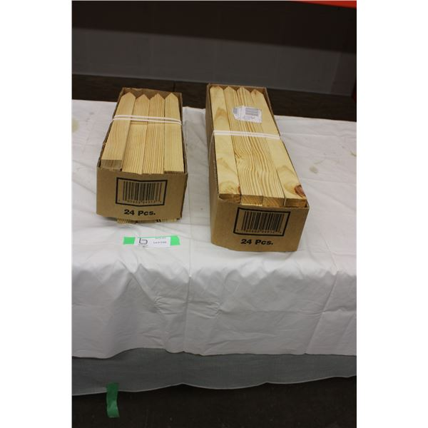 "Box of 18"" and 24"" Wooden Stakes"